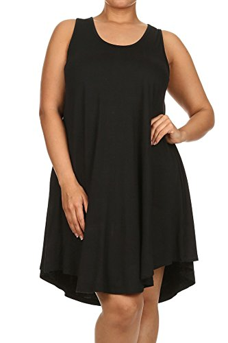 Modern Kiwi Solid Basic Asymmetric Plus Size Tank Tunic Dress Black 2X