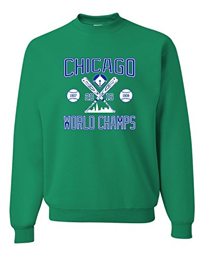 - Go All Out Screenprinting Small Kelly Adult Chicago World Champs 2016 Sweatshirt Crewneck