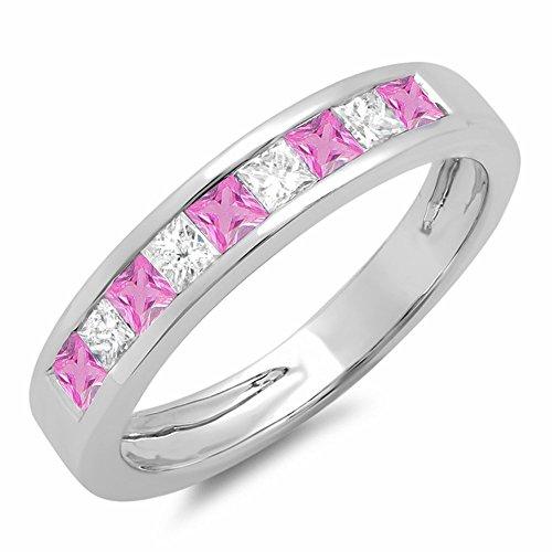 Dazzlingrock Collection 10K Princess Pink Sapphire & White Diamond Ladies Wedding Band Stackable Ring, White Gold, Size 6