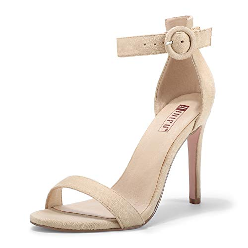 IDIFU Women's Elegant High Stiletto Open Toe Buckled Heel Sandals Wedding Party Shoes