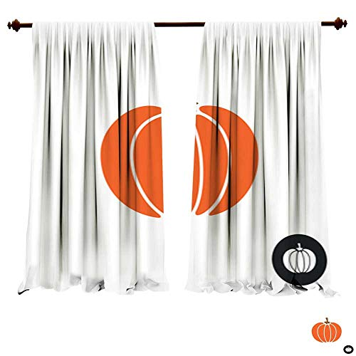 (Window Curtains for Bedroom Pumpkin icon Color isolated on white Simple flat style pumpkin illustration Harvest thanksgiving or halloween theme Multi-Function Noise Reducing)