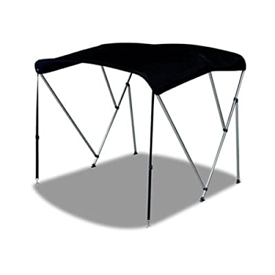 "3 Bow Bimini Top Boat Cover Black 79""-84"" With Rear Poles & Integrated Sock"