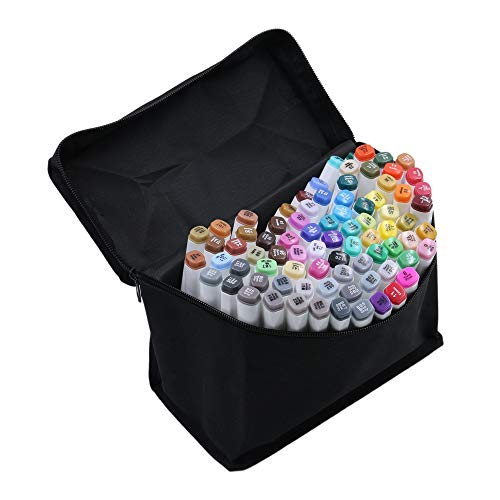 Art Marker Pens Set 80 Colors Dual Tip Alcohol Markers Art Sketch Pens With Free Pen Case(Fashion Design)