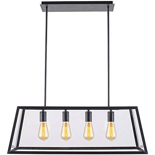 T&A Glass Linear Pendant Light, 4-Lights Industrial Island Light with Matte Black Shade and Clear Glass Panels,Modern Industrial Chandelier