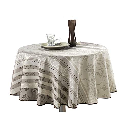 63-Inch Round Tablecloth Ivory White Brown Floral Baroque, Stain Resistant, Washable, Liquid Spills bead up, Seats 4 to 6 People (Other Size: 60x80-Inch, 60x95-Inch, ()
