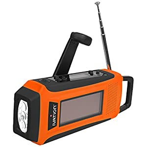 41MnmvIQK2L. SS300  - Ivation Rainproof Emergency Digital Solar & Dynamo AM/FM/NOAA WB Radio, Smart/Cell phone Charger, Bright 3 LED Flashlight - Compact emergency Survival NOAA Alerts, and Cell phone charging - 3 Recharging options, Hand crank Dynamo Power Generator, Built-in Solar Panel, or USB Power Connection (Cables Included), Never need to replace batteries