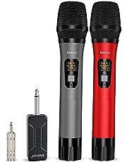 Micrófono inalámbrico, UHF sistema de micrófono dinámico de mano dual inalámbrico con receptor recargable, alcance de 79 m, enchufe de 6,35 mm, amplificador de voz, sistema de PA (PA), máquina cantante, iglesia