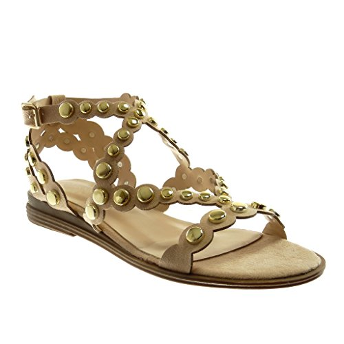 Bloque Sandalias tobillo moda cm Zapatos de 2 correas de tacón con para de Correa Tachonada Gladiador múltiples Beige 5 Dorado de Angkorly mujer YqwO5vq