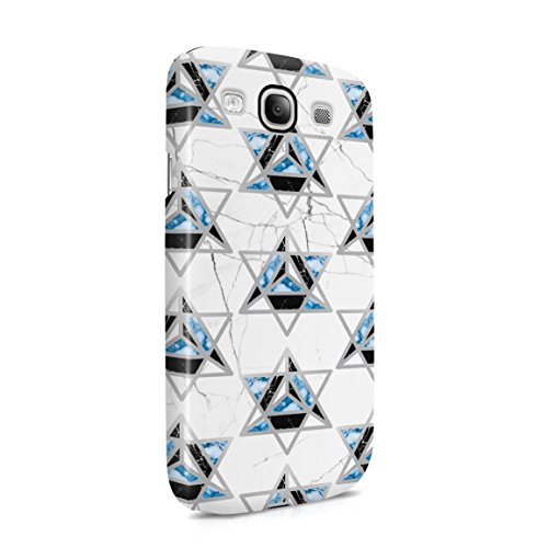 Cracked White , Black Onyx & Aquamarine Marble Stone Triangles Pattern Hard Plastic Phone Case For Samsung Galaxy S3