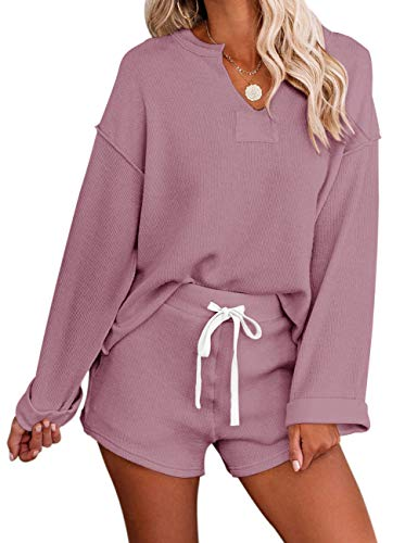 MEROKEETY Women's Long Sleeve Pajama Set Henley Knit Tops and Shorts Sleepwear Loungewear, Pink, M