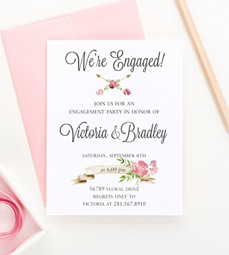 Engagement Announcement Invitations (Rustic Engagement Party Invitation, Floral Engagement Party Invitation, Engagement Announcements, Engagement Party Invitations, Your choice of quantity and envelope color)