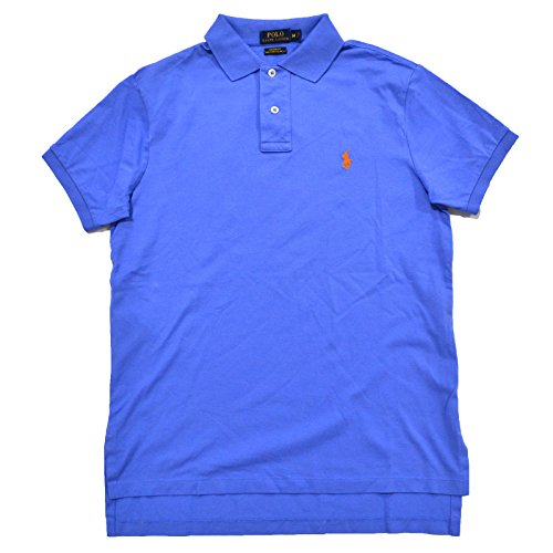 Polo Ralph Lauren Mens Custom Fit Pima Stretch Mesh Polo Shirt (X-Large, Blue) (Pima Mesh Shirt Polo)