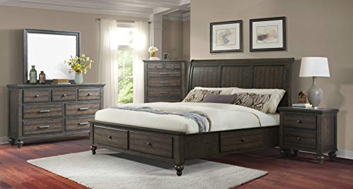 Cambridge 98110A5K1-GR Newport Storage Five Piece Ash Brown: King Bed, Dresser, Mirror, Chest, Nightstand Bedroom Suite, Cambridge 5 Drawer Chest