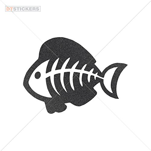 Vinyl Sticker Decal Humor Happy Fishbone Swims L White Atv Car Garage bike graphic colony symbol tropical (10 X 7,33 Inches) Metallic Black