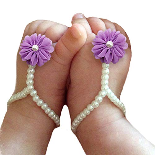 Miugle Baby Pearls Barefoot Sandals with Flowers,Lavender (Barefoot Sock Sandals Baby)