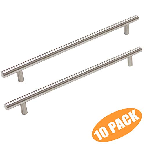 - Probrico T Bar Cabinet Pulls Stainless Steel Kitchen Cabinet Door Handles Euro Bar Dresser Knobs Wholesale (10 Pack, CC:10 inch)