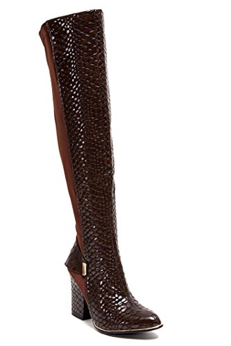 Stivali Da Donna Lady Couture 3 1/2 Pollici Altezza Della Coscia Del Tallone Enzo 35 (5), 36 (5.5-6), 37 (6.5), 38 (7-7.5), 39 (8-8.5), 40 (9), 41 (9.5-10) Marrone