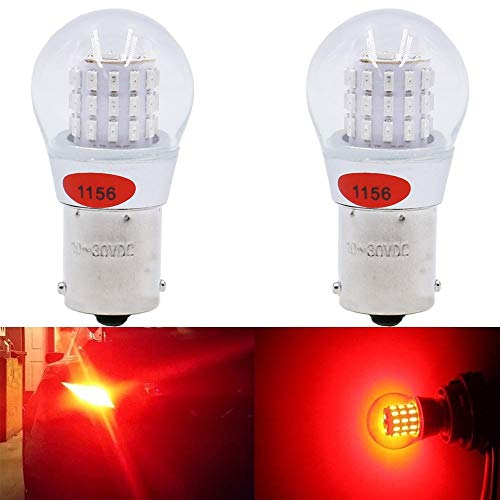 AMAZENAR 2-Pack 1156 7506 1141 1003 1073 Extremely Bright Red LED Light 9-30V-DC AK-3014 39 SMD Replacement Bulbs For Tail Brake Light Lamps