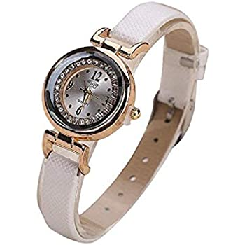 Women Quartz Watches Analog Ladies Watches Girl Watches Thin Leather Female Watches (White)