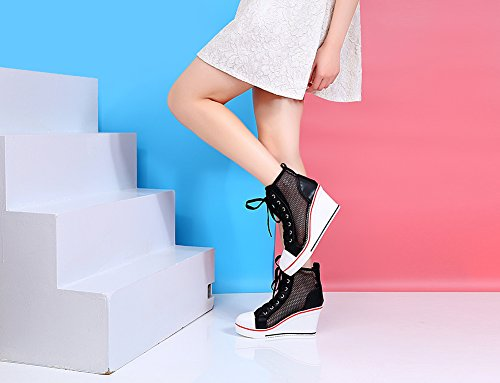 Heeled Sneaker Pump Lace 3 UP Black Fashion Wedges Shoes Shoes Women's High Canvas Smilety pXqnB5Rn
