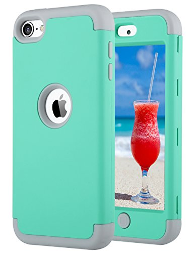 ULAK iPod Touch 6th Generation Case, iPod Touch 7 case, iPod 5 Case,Heavy Duty High Impact Protective Case for Apple iPod Touch 5 6th 7th Generation (Green+Grey) (Ipod 5 Color Gray Case)