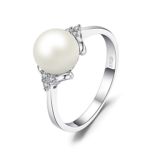 8mm Freshwater Pearl Ring (JewelryPalace 8mm Freshwater Cultured Pearl Ring 925 Sterling Silver Size 6)