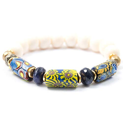 Antique Venetian Millefiori Beaded Bracelet with Sodalite - 7 Inches Long Handmade African trade bead bracelet by Miller Mae Designs