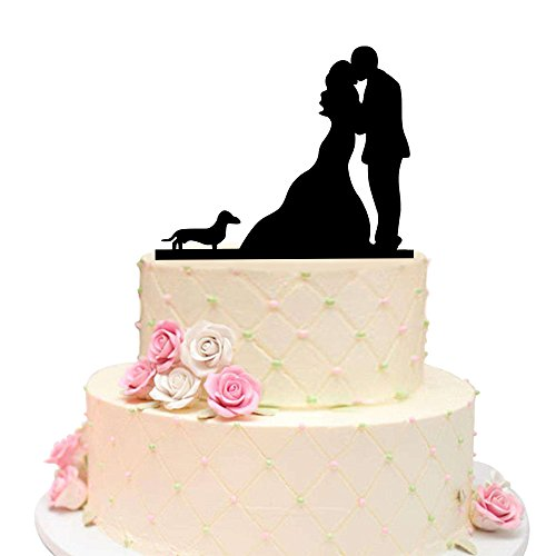 lack Wedding Cake Topper, Bride and Groom with Lovely Pet Dog (Dachshund) ()