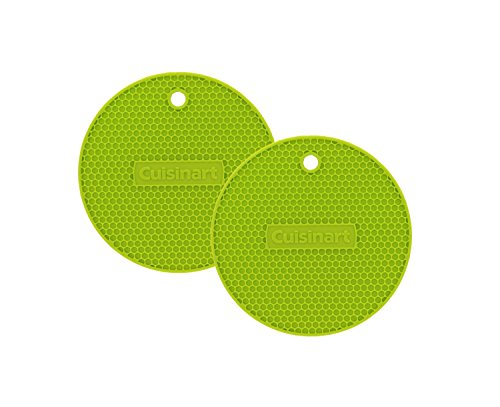 """se 7"""" Round Flexible Silicone Kitchen Tool, Trivet/Pot Holder, Spoon Rest, Jar Opener, Coaster, Heat Resistant Pad (up to 500 degrees F) Lime 2pk ()"""