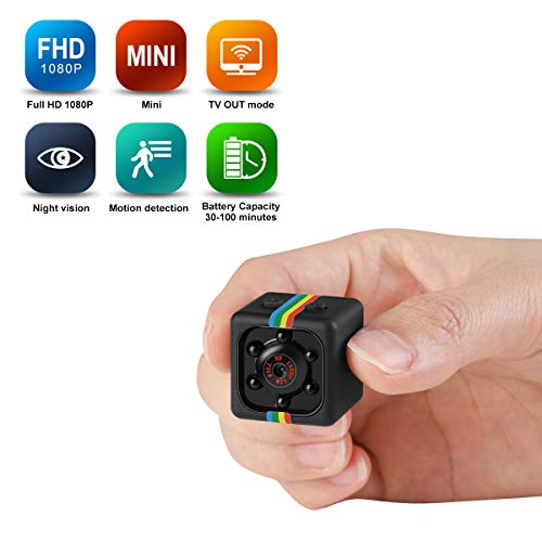Mini Spy Hidden Camera Portable Small HD Nanny Cam 1080P/720P & Motion Detection &Night Vision Perfect Indoor Covert Security Camera for Car, Drone, Office[New]