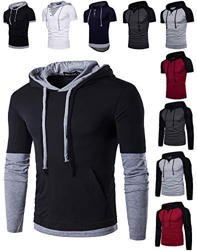 WHATLEES Mens Slim Fit Hoodie Casual Hooded T-Shirt