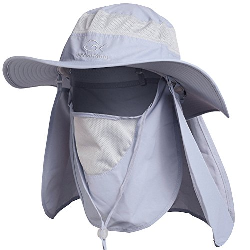 1d349a5030e74 DDYOUTDOOR 07-281 Fashion Summer Outdoor Sun Protection Fishing Cap Neck  Face Flap Hat Wide Brim (Gray)