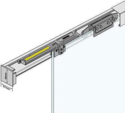 BM6-900-AS Schiebet/ürsystem ESG 900x2050x8mm Dekor M6 Siebdruck; Schienensystem ALU SlimLine SoftStop; Griffmuschel