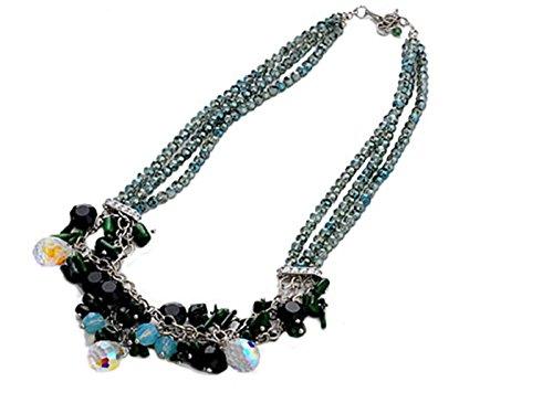 Swarovski Triple Strand Necklace - Alilang Bohemian Gypsy Jet Bead Chain Link Swarovski Crystal Art Triple Strand Necklace
