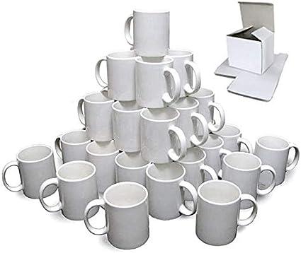 KAPCO Lot de 36 tasses /à sublimation Blanc 11 oz Petit manche Presse thermique Grade AA