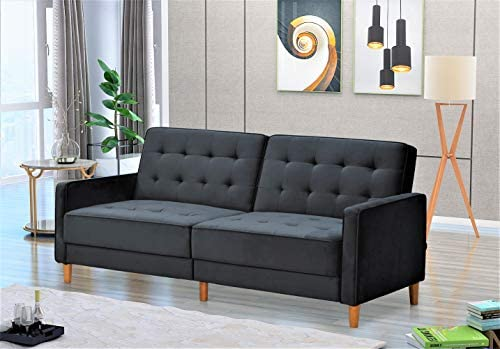 Container Furniture Direct Nia Modern Velvet Upholstered Tufted Sleeper Sofa Bed