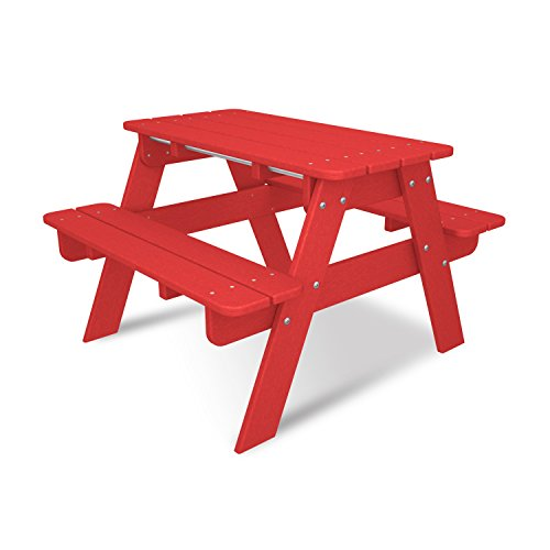 POLYWOOD KT130SR Kids Picnic Table, Sunset Red