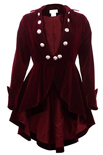 (XS-28) Velvet Wine Waterfall - PRIME - Maroon Red Gothic Ruffle Victorian Style Coat Jacket (Large, Red) -