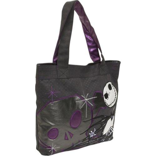Loungefly Disney Jack Skellington The Nightmare Before Christmas Tote Handbag,Black/Grey/Purple,One Size, Bags Central