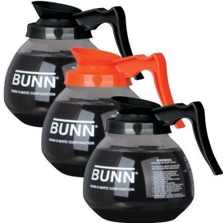 BUNN Coffee Pot Decanter/Carafe, 2 Black Regular and 1 Orange Decaf, 12 Cup Capacity, Set of 3 (BP05)