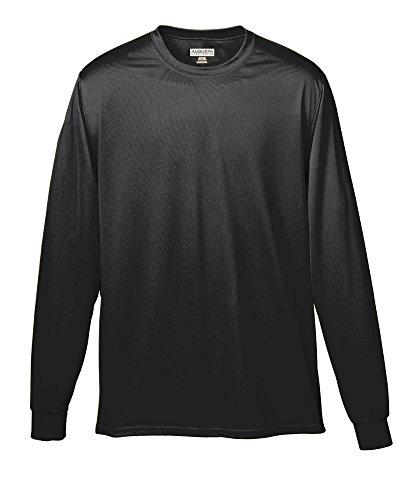 Augusta Sportswear Soccer Shirt - Augusta Sportswear Wicking Long Sleeve T-Shirt, Large, Black