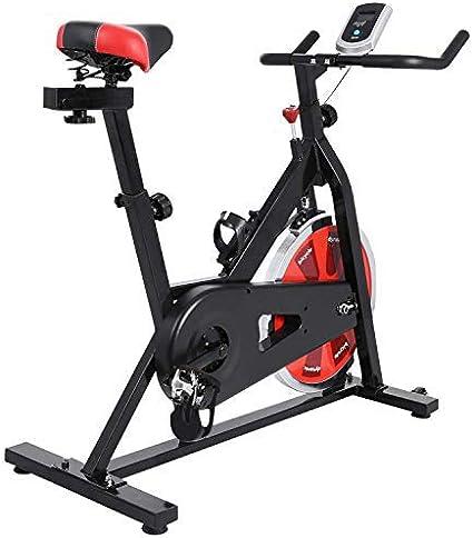 Profun Bicicleta Estática de Spinning Profesional, Ajustable Resistencia, Pantalla LCD, Bicicleta Fitness de Gimnasio Ejercicio con Volante de Inercia, Sillín Ajustable, Máx.130kg (Negro+Rojo): Amazon.es: Deportes y aire libre