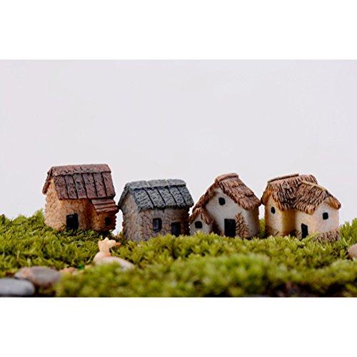 WINOMO 4PCS Miniature Gardening Landscape Micro Village Stone Houses Thumbnail House Thatched Huts DIY Bonsai Terrarium Crafts Desk Ornaments Accessories for Fairy Garden Decoration