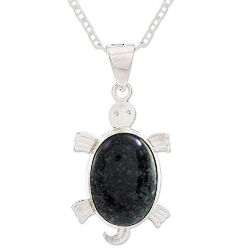 NOVICA Jade .925 Sterling Silver Pendant Necklace, 18