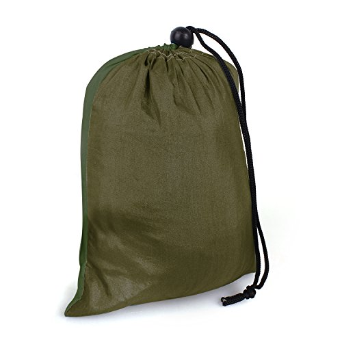 Travel Camping Hammock Portable Parachute Nylon Fabric for Hiking, Boating, Sleeping, Backpacking, Climbing (camel/black green, 275cm × 140cm)