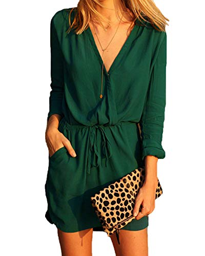 - YOINS Women Playsuit Rompers Sexy V-Neck Drawstring Waist 3/4 Length Sleeves Wrap Jumpsuits with See-Through Design 3/4 Length Sleeves-Green S