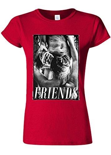 舌なふさわしいブラウザFriends With Benefit Funny Novelty Cherry Red Women T Shirt Top-S