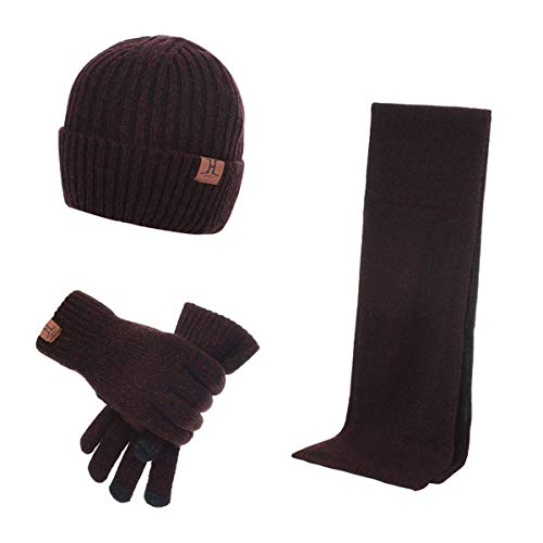 MICHAELAN 3 Pieces Winter Warm Knit Beanie Hat + Long Scarf + Non-Slip Touch Screen Gloves Gift Sets for Men Womens (Wine Red)