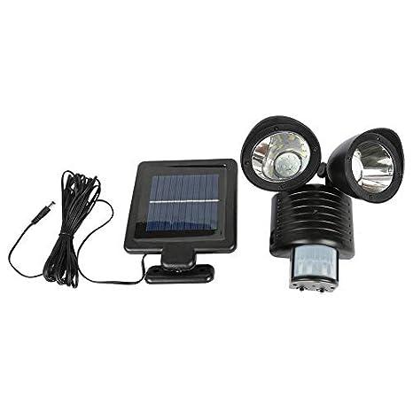 Detector PIR de doble cabezal Lámpara de seguridad solar Luz de ...