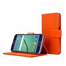 Galaxy S6 Case, Snugg Orange Leather Flip Case [Card Slots] Executive Samsung Galaxy S6 Wallet Case Cover and Stand [Lifetime Guarantee] - Legacy Series